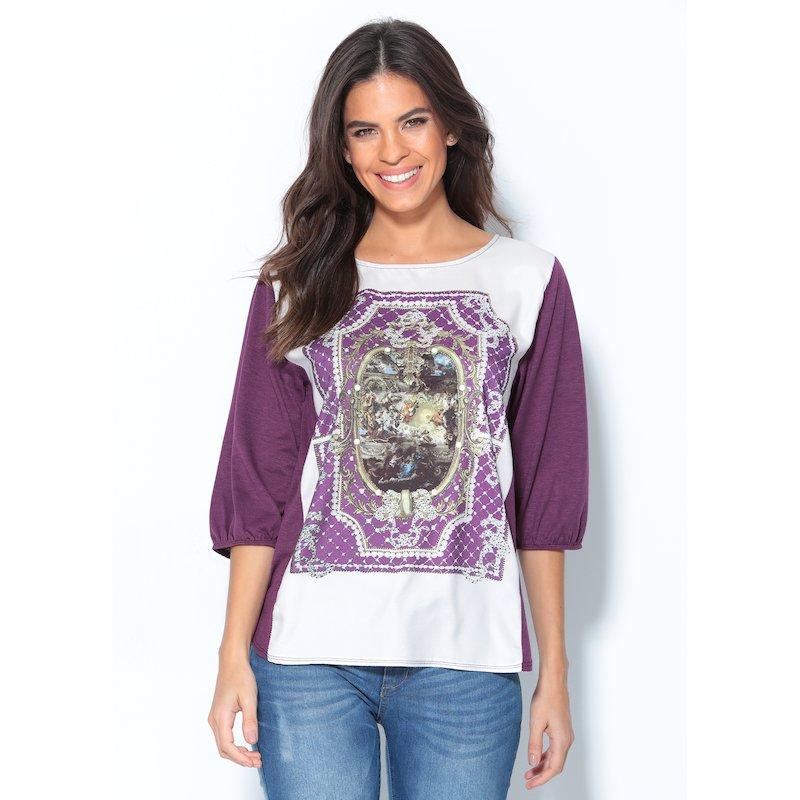 Camiseta mujer manga corta de punto estampada - Lila