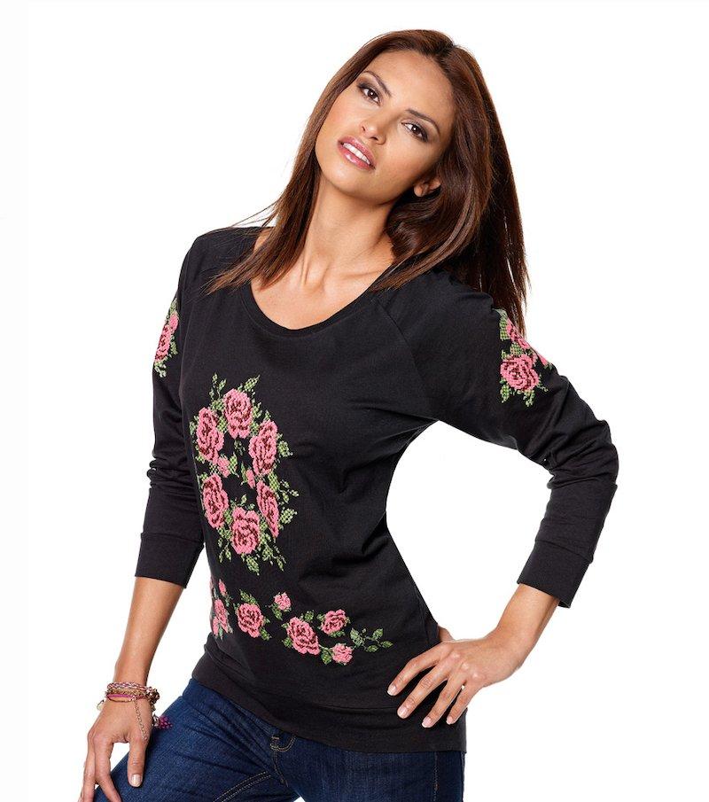 Camiseta mujer flores 100% algodón - Negro