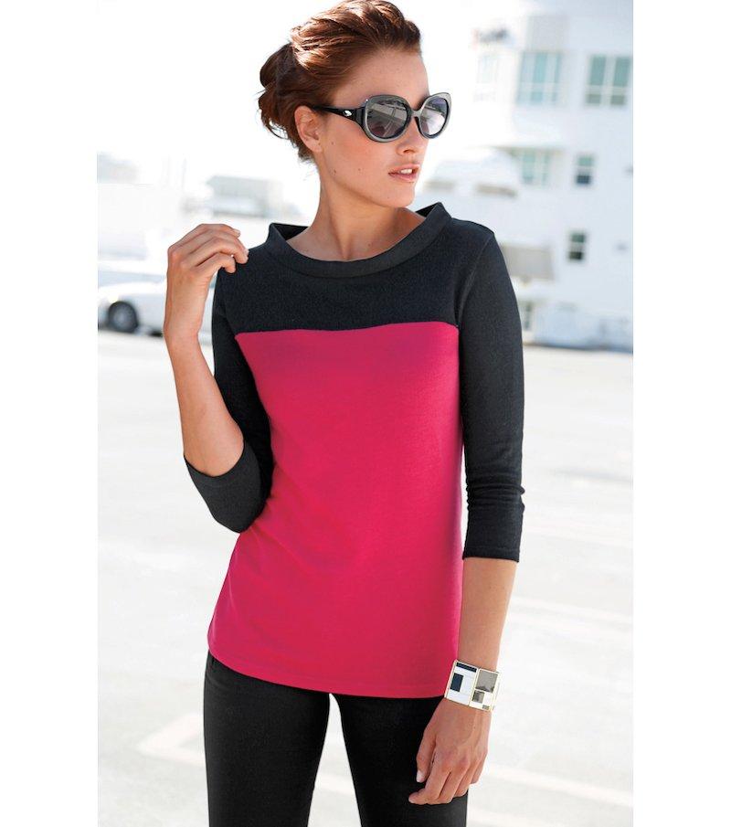 Camiseta mujer manga 3/4 bicolor