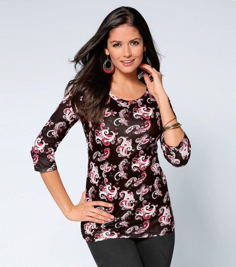 Camiseta mujer manga 3/4 estampado oriental