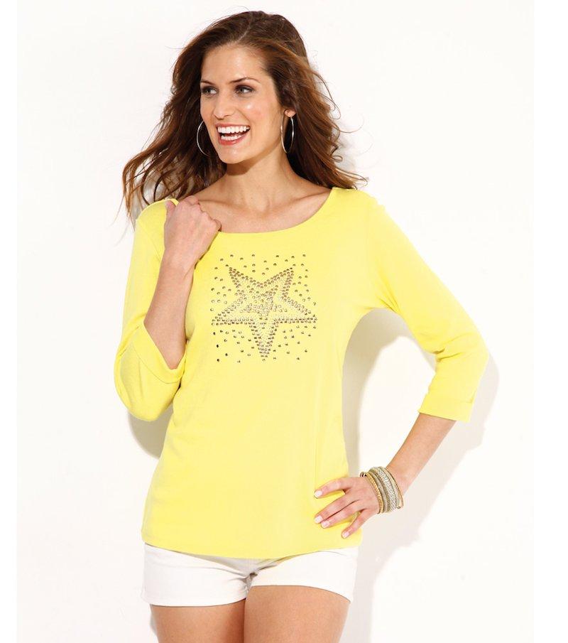 Camiseta mujer manga 3/4 con tachuelas y strass