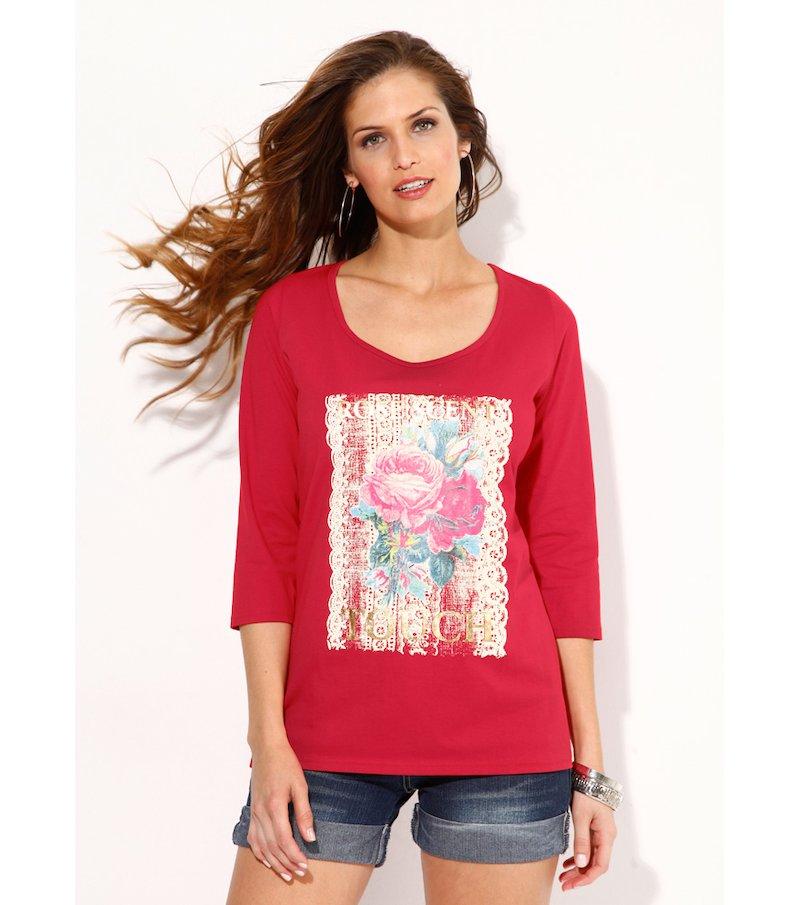 Camiseta mujer manga 3/4 estampado metal