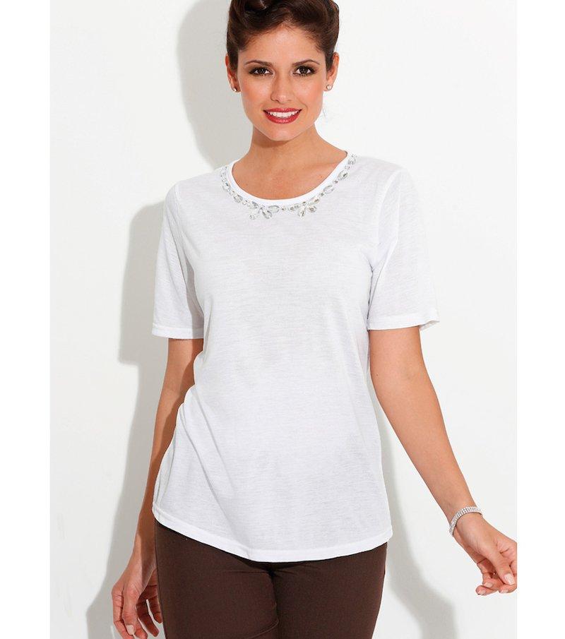 Camiseta mujer manga corta con pedrería blanca