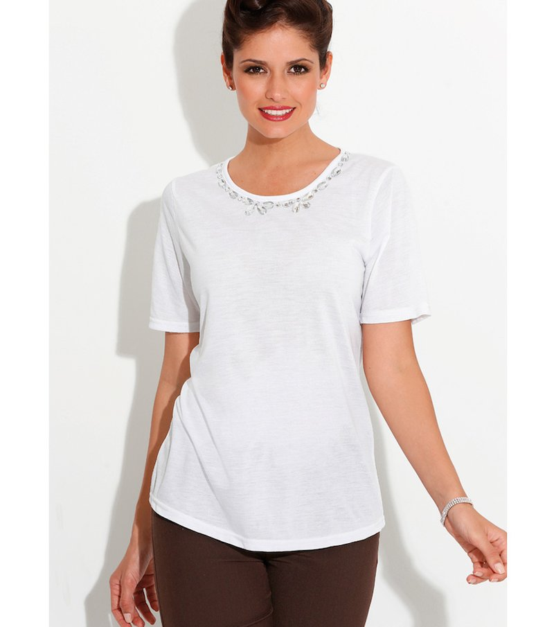 Camiseta mujer manga corta con pedrería blanca - Blanco
