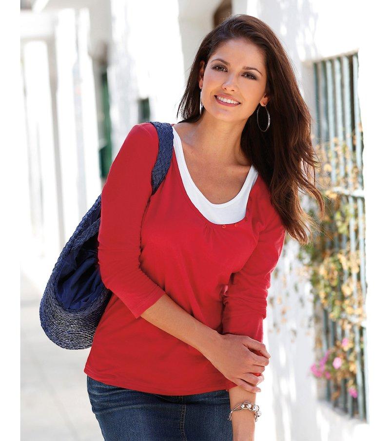 Camiseta mujer manga larga escote efecto doble
