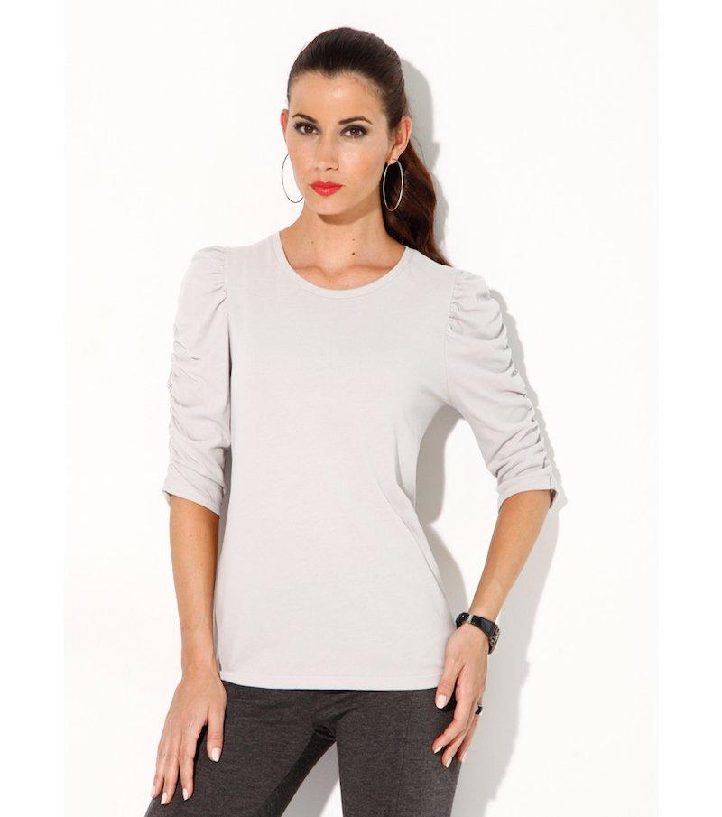 Camiseta mujer manga fruncida elástica