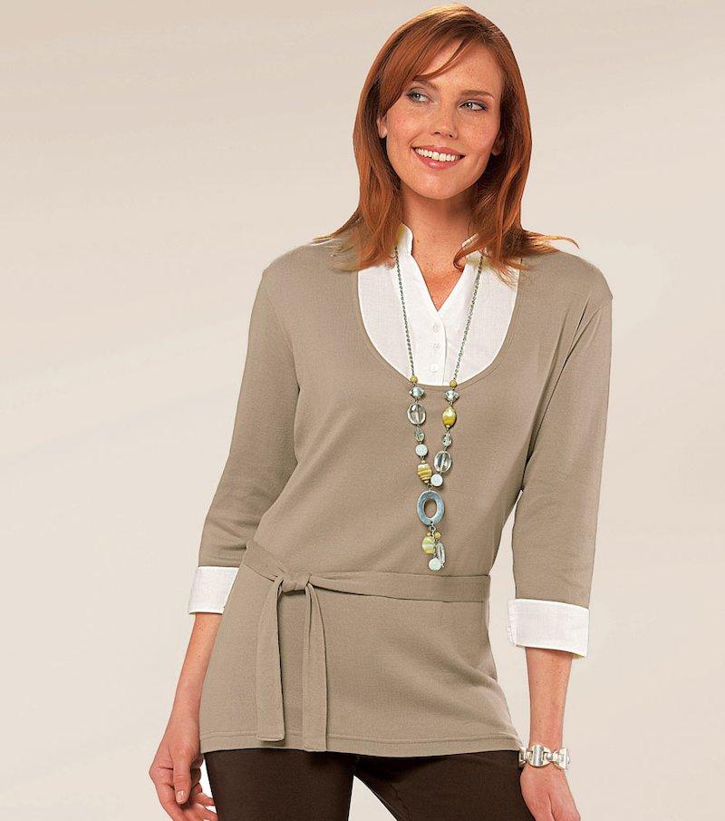 Camiseta larga mujer manga 3/4 de efecto doble - Beige
