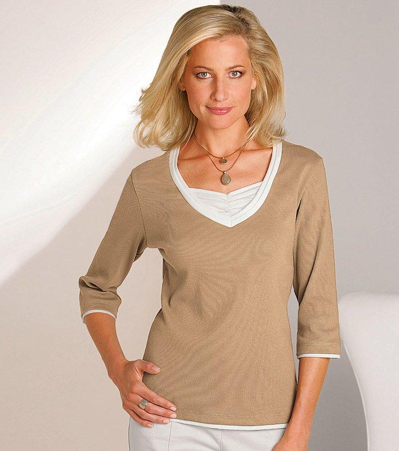 Camiseta mujer manga 3/4 efecto doble de algodón