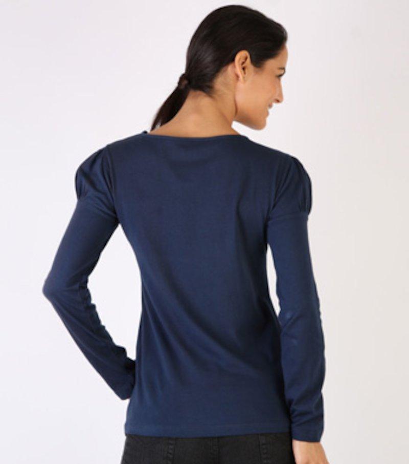Camiseta mujer con escote crochet de algodón