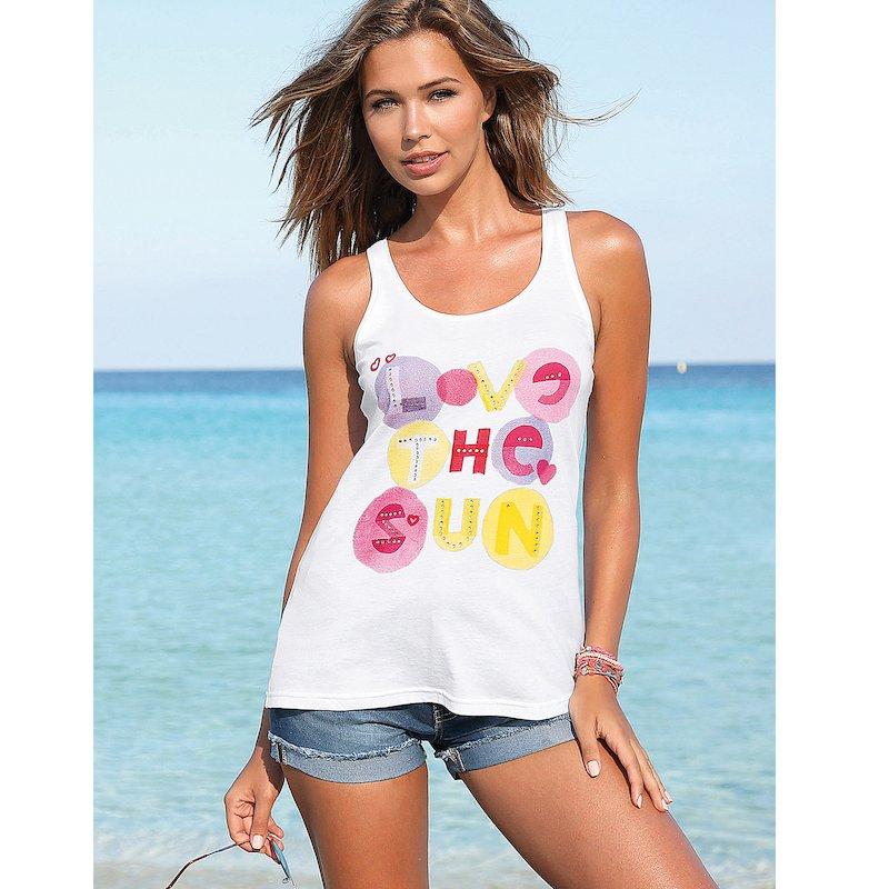 Camiseta sin mangas mujer letras y strass