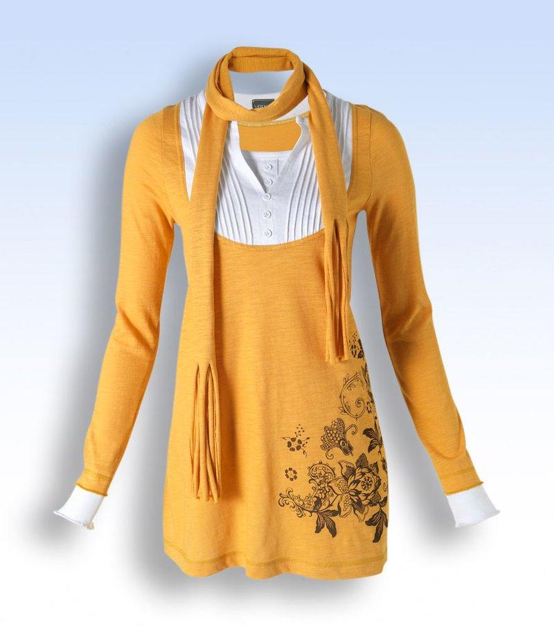Maxi camiseta mujer manga larga efecto triple