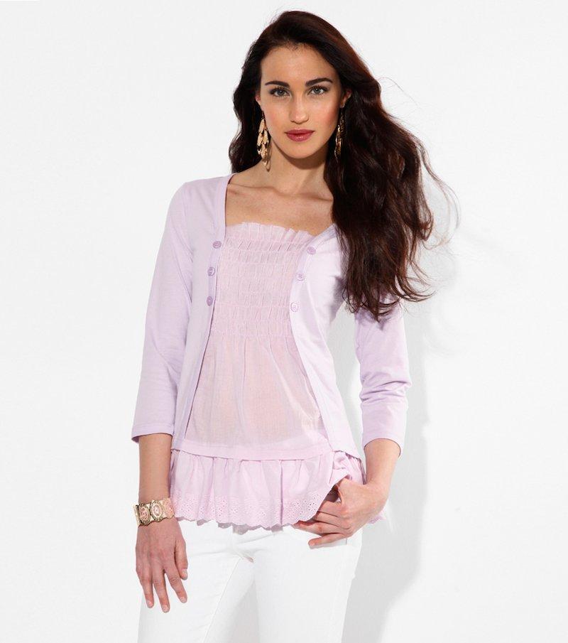 Camiseta efecto doble con bordado suizo - Lila