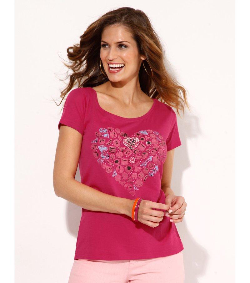 Camiseta mujer manga corta estampada - Rosa