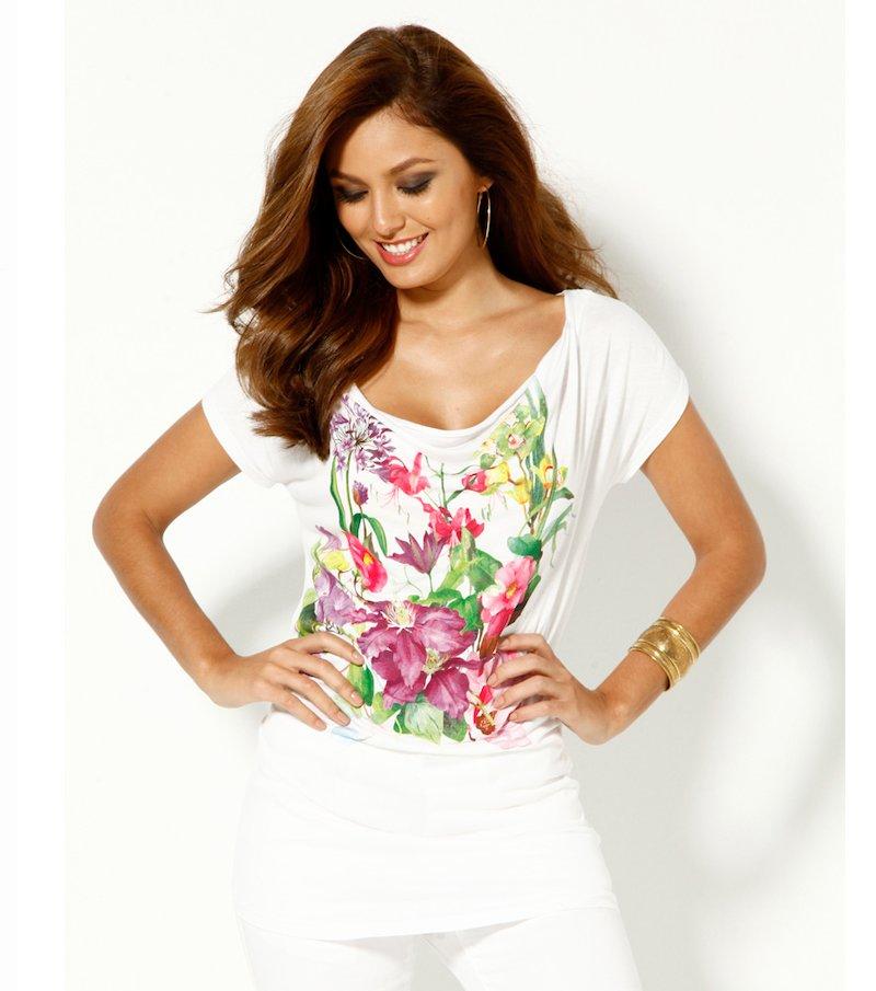Camiseta mujer manga corta estampado jardín