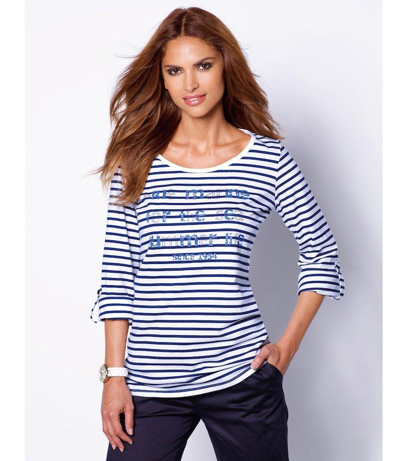 Camiseta mujer manga larga regulable con strass