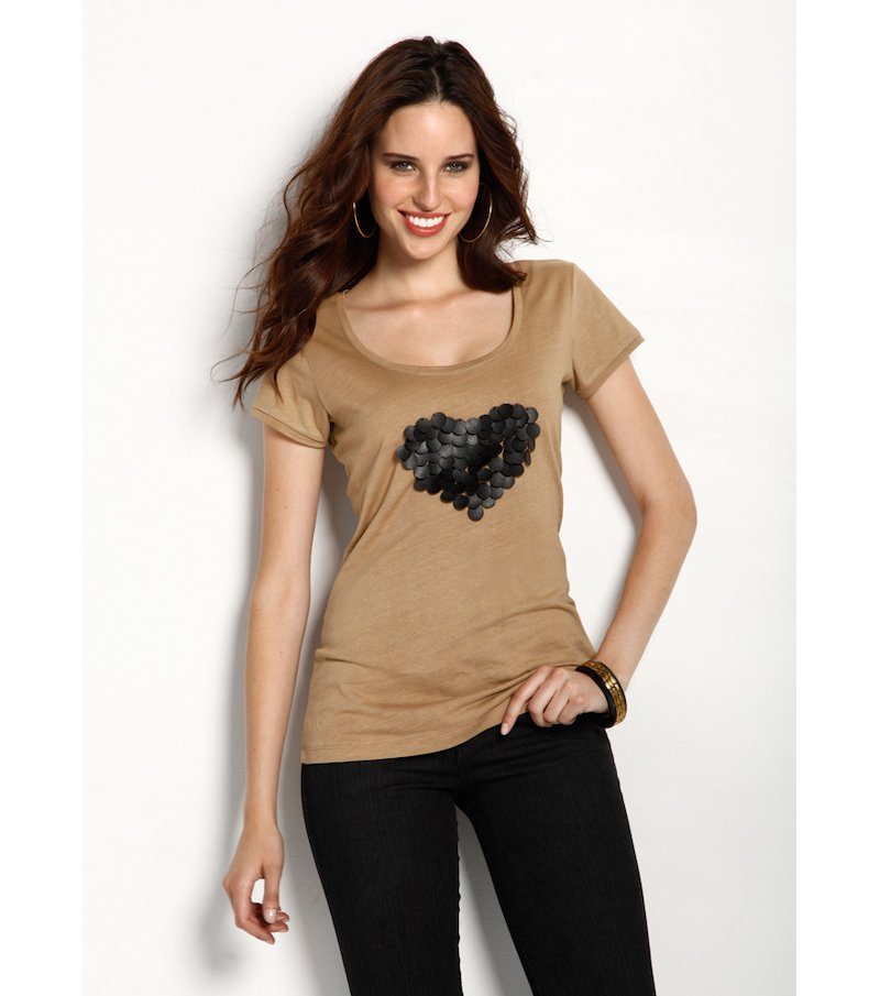 Camiseta mujer manga corta corazón 100% algodón