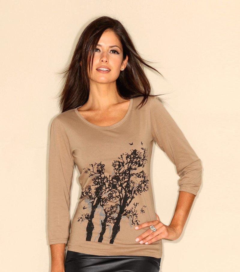 Camiseta mujer manga 3/4 estampada 100% algodón - Beige