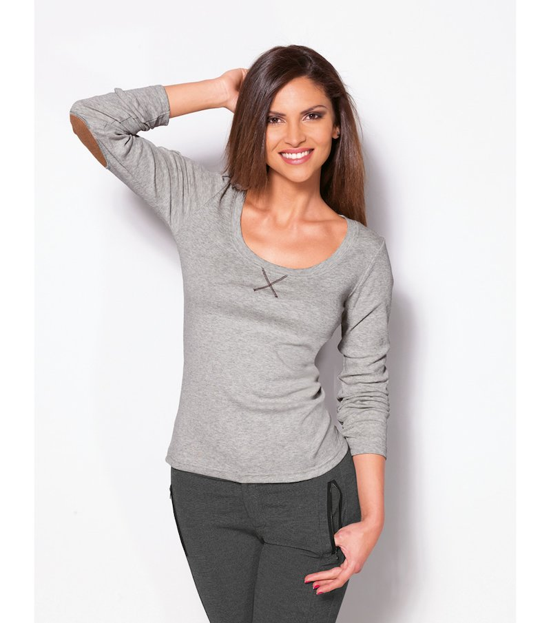 Camiseta mujer manga larga coderas 100% algodón
