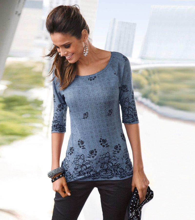 Camiseta mujer manga 3/4 estampada encaje