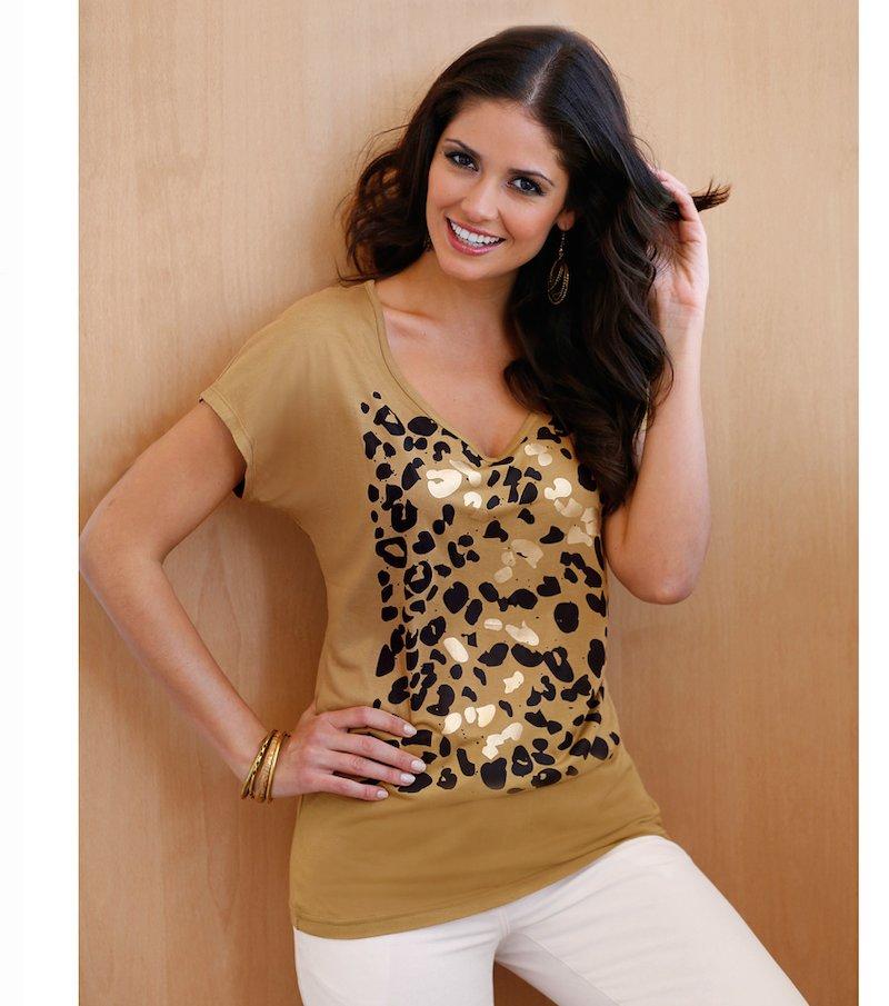 Camiseta mujer manga corta metalizada