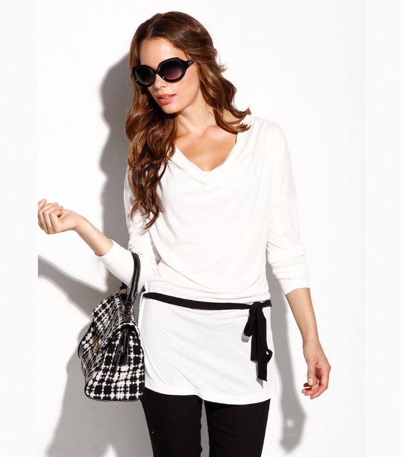 Camiseta mujer manga larga 100% viscosa - Beige