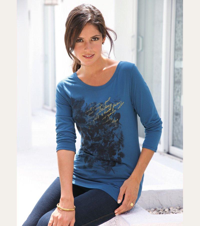 Camiseta mujer manga 3/4 estampada 100% viscosa