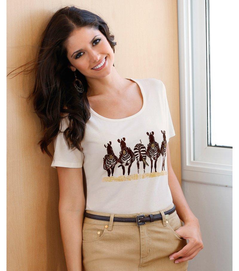 Camiseta mujer manga corta estampado cebras