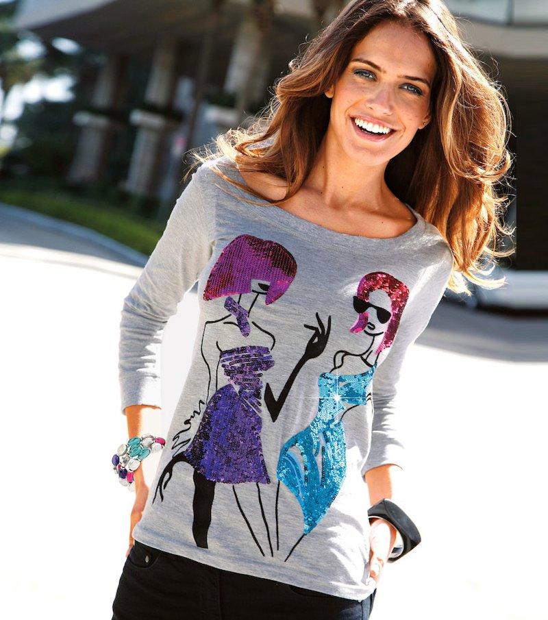 Camiseta mujer estampado terciopelo y lentejuelas