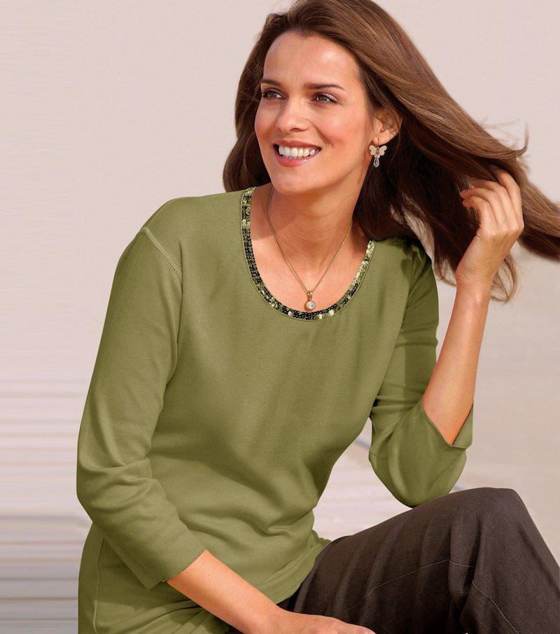 Camiseta mujer manga 3/4 de algodón lentejuelas - Verde