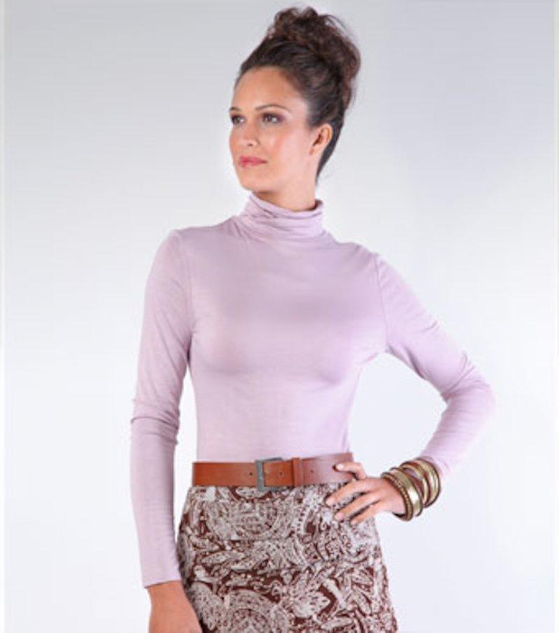 Camiseta mujer manga larga de cuello cisne - Lila