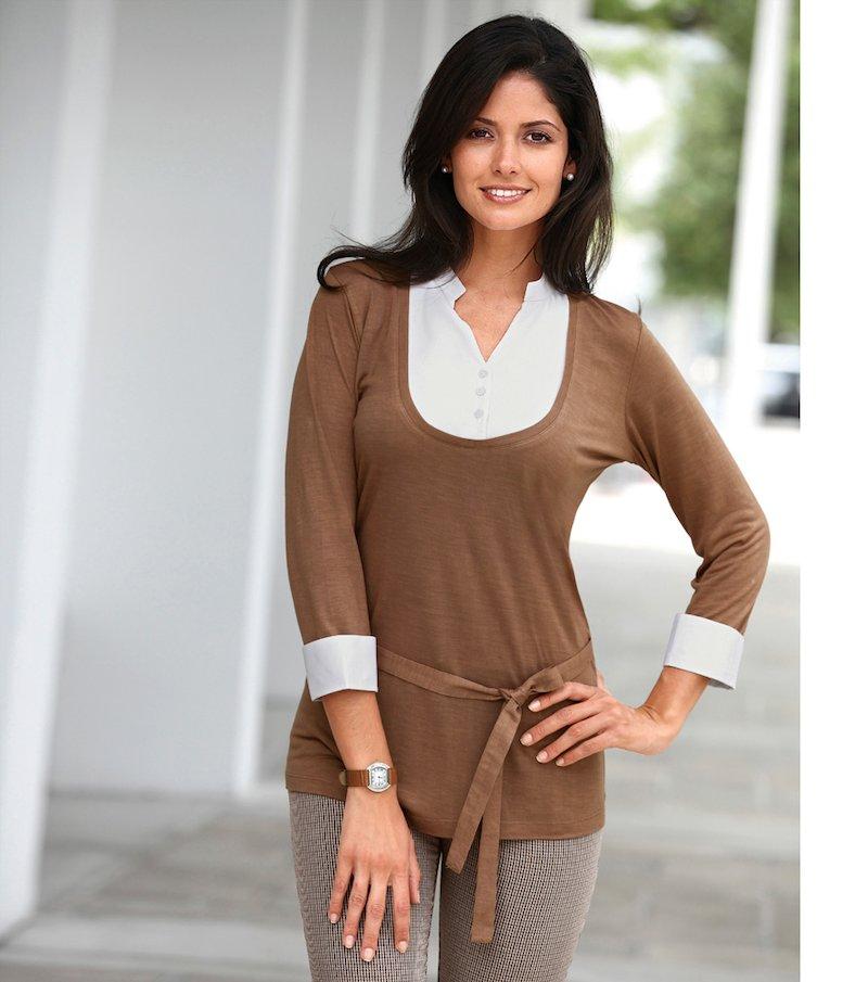 Camiseta mujer manga 3/4 efecto doble - Marrón