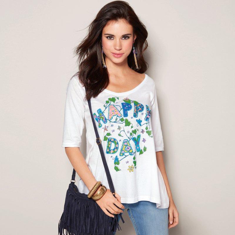 Camiseta mujer manga corta estampado Happy Day