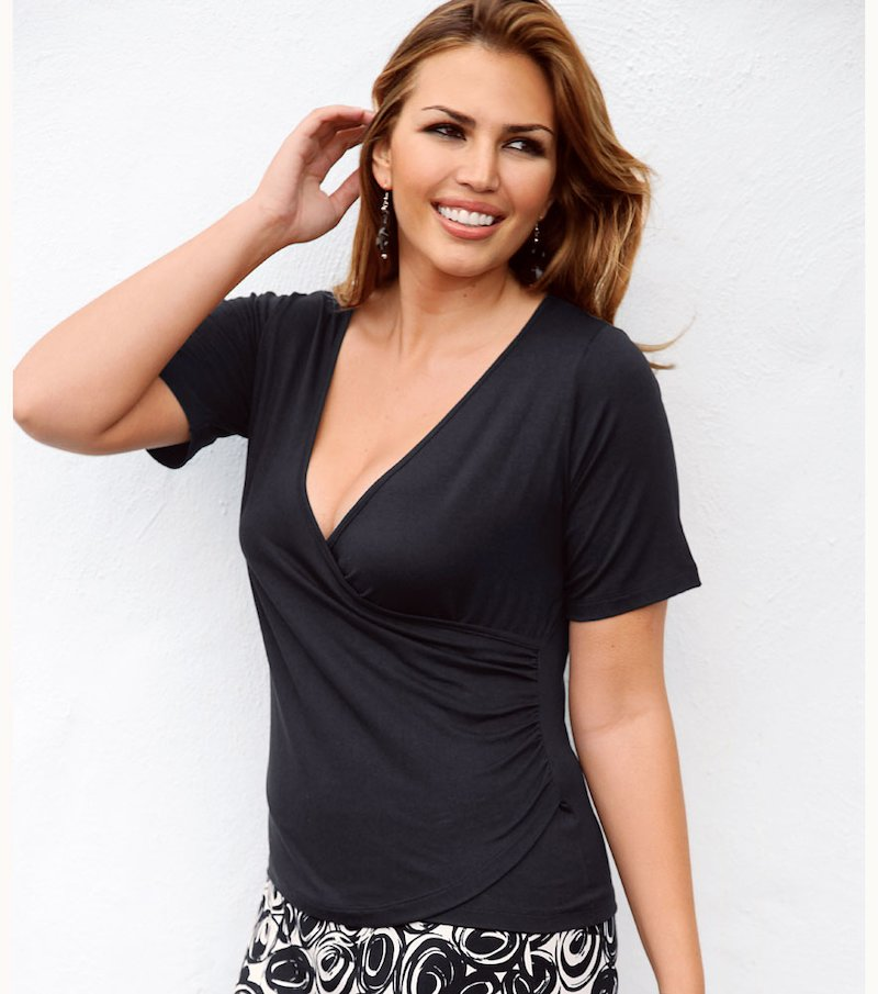 Camiseta mujer manga corta drapeada