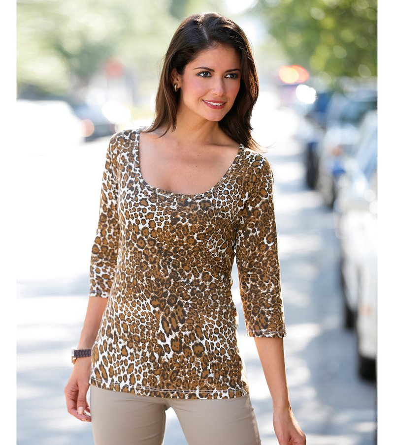 Camiseta mujer manga 3/4 estampado animal - Marrón