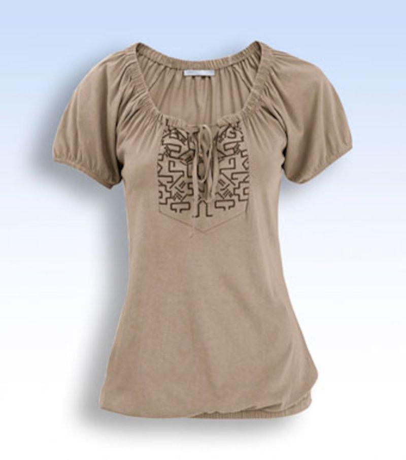 Camiseta mujer manga corta estampada - Marrón