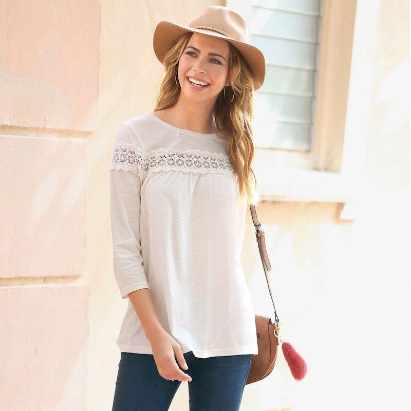 Camiseta mujer de manga 3/4 con entredós de guipur