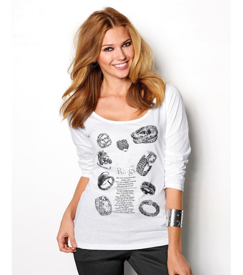 Camiseta mujer estampada con strass