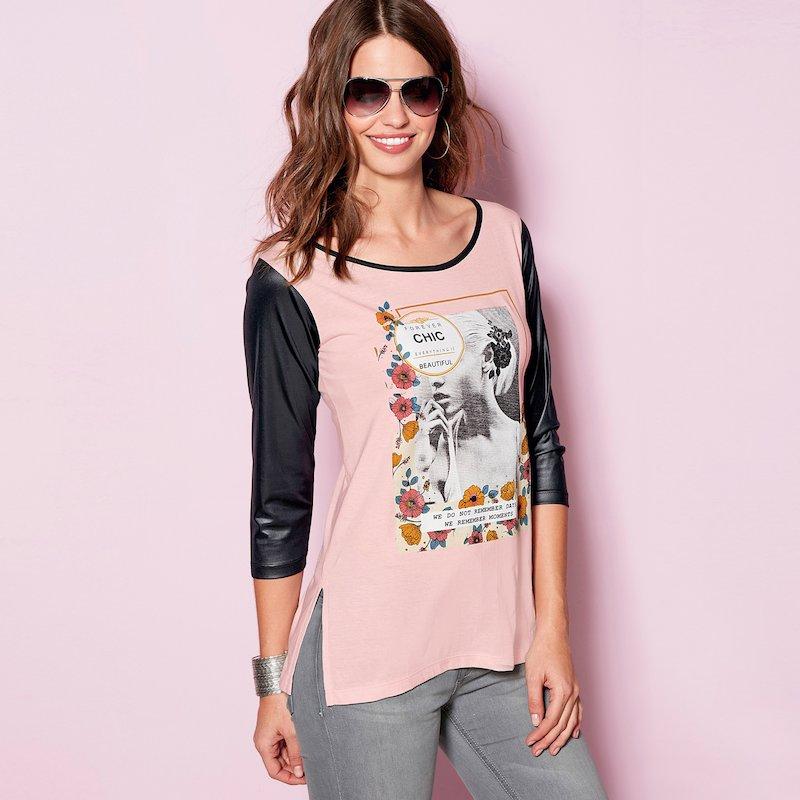 Camiseta mujer algodón con detalles símil piel