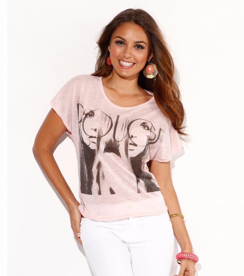Camiseta mujer manga corta estampada asimétrica