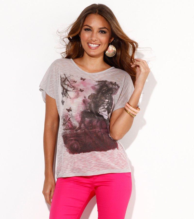 Camiseta mujer manga corta estampado frontal