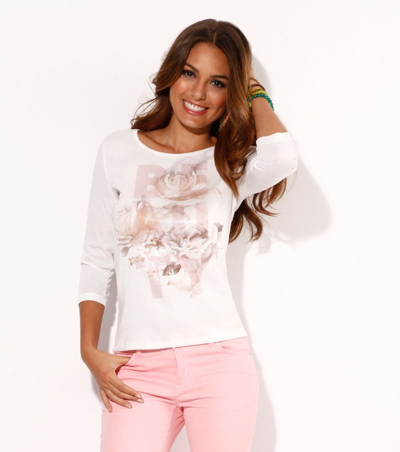 Camiseta mujer manga 3/4 con estampado lentejuelas