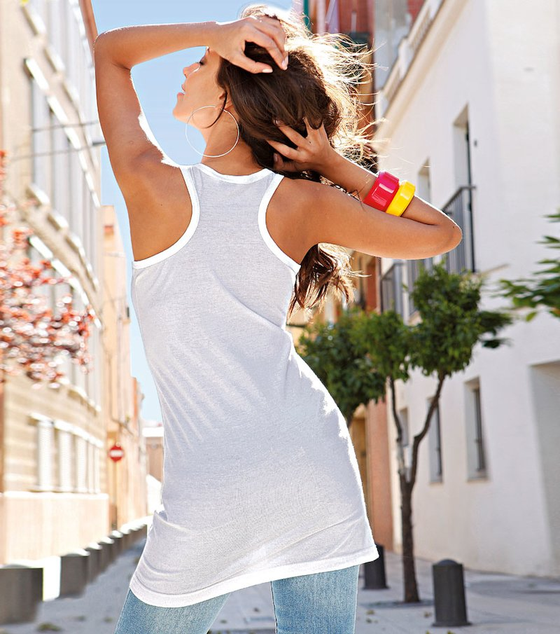 Camiseta mujer sin mangas de algodón - Blanco