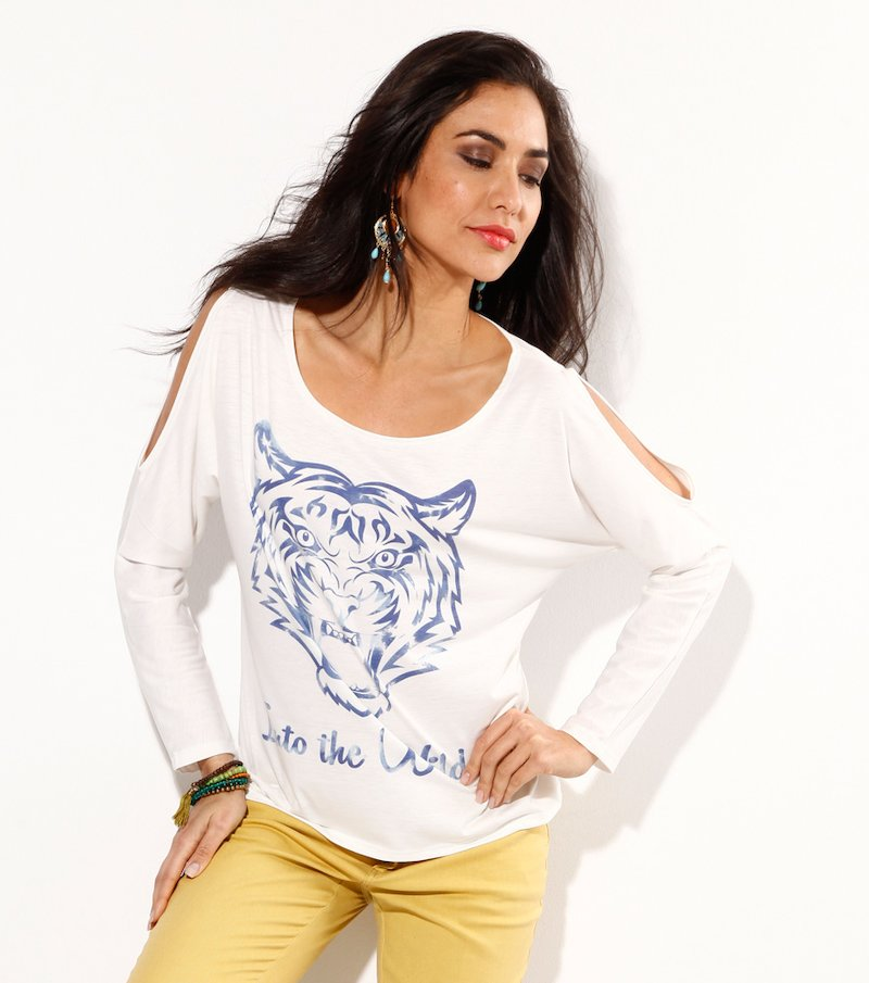 Camiseta mujer manga larga con aberturas tigre