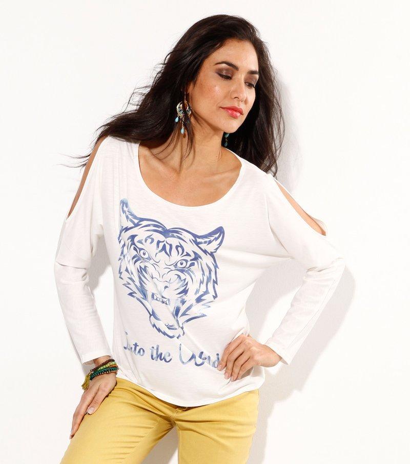 Camiseta con aberturas tigre - Blanco