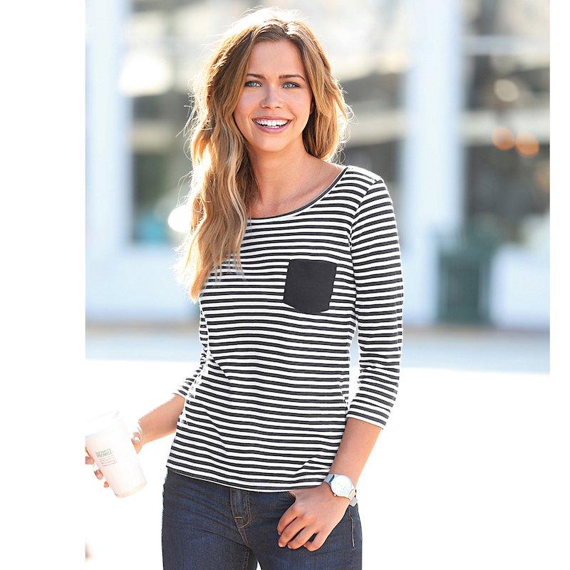 Camiseta mujer con rayas manga 3/4 de algodón