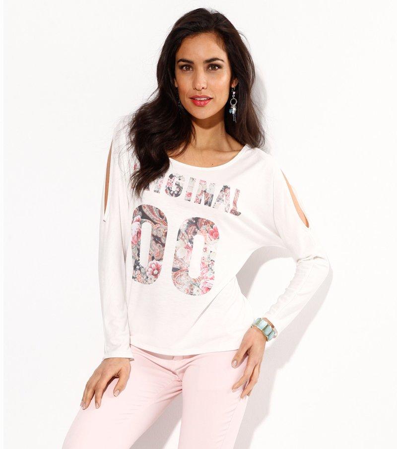 Camiseta mujer manga larga con aberturas - Blanco