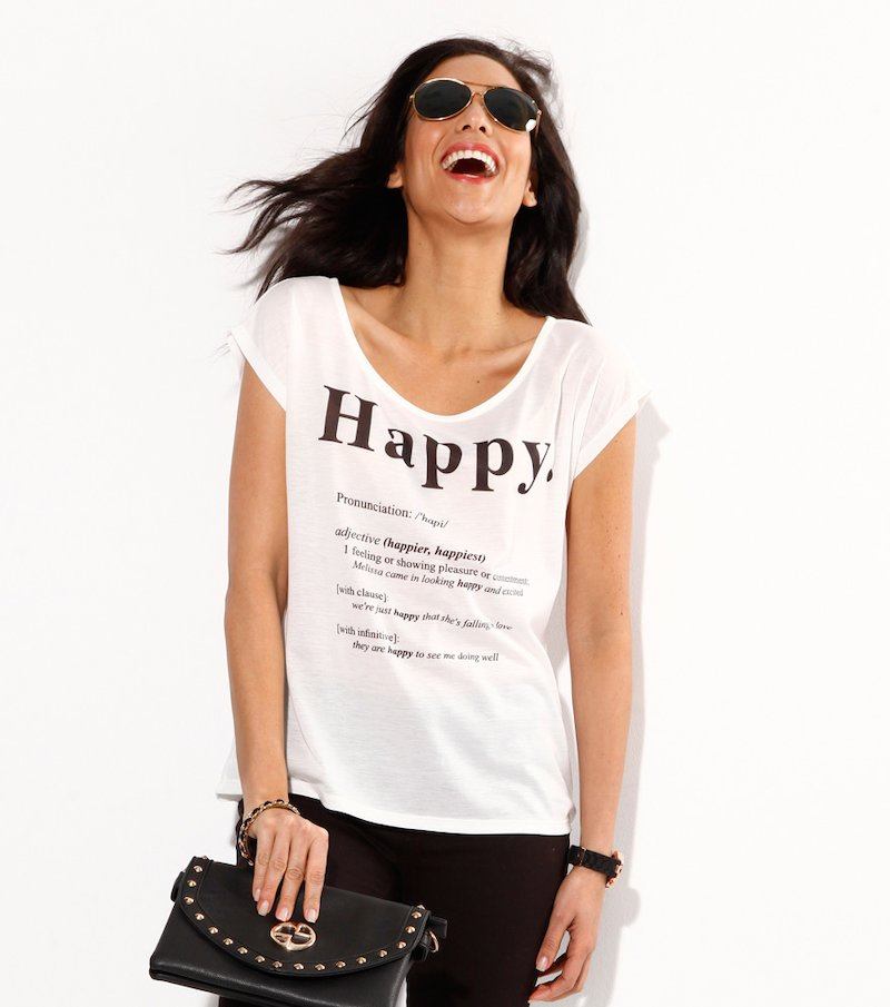 Camiseta mujer manga corta estampado gráfico Happy