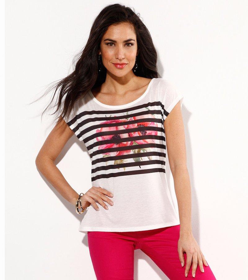 Camiseta mujer manga corta estampada flores rayas