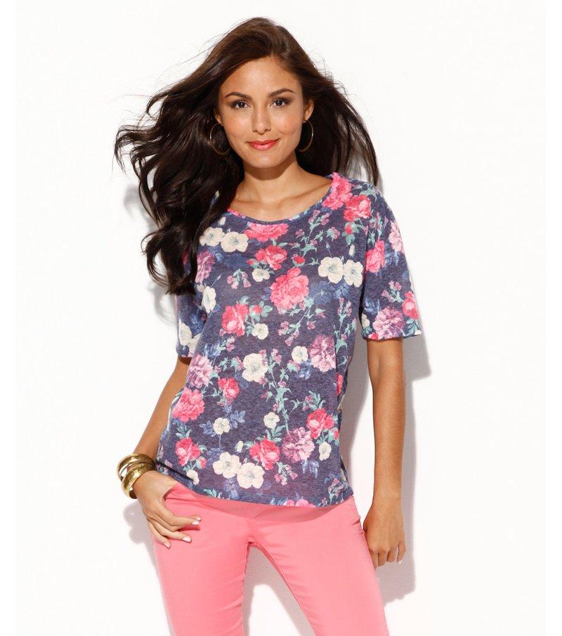 Camiseta mujer manga estampada