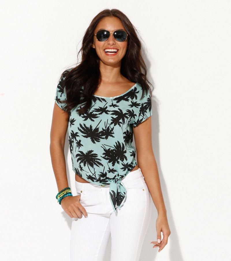 Blusa mujer manga corta estampado palmeras - Verde